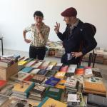 Talking about books in The Margate Bookshop pop up shop