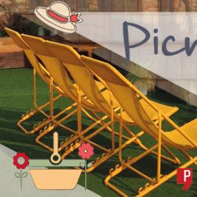Picnic on the Roof banner with deckchairs